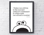 Cookie Monster Print - Instant Digital Download - A4 and A3 Sizes - Printable Poster, Kids Poster, Nursery Print, Black & White Wall Decor