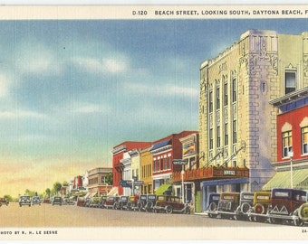 Beach Street, Looking South, Daytona Beach, Florida. Vintage Postcard 1932. Vintage Paper Ephemera Collectibles.