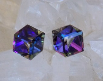 Swarovski 6mm Crystal Cubes, Stud-Post Earrings, Slant Cube, Surgical Steel Posts, 5 Colors