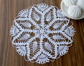 White knitted doily, Openwork doily, crochet doily, handmade doily, home decor