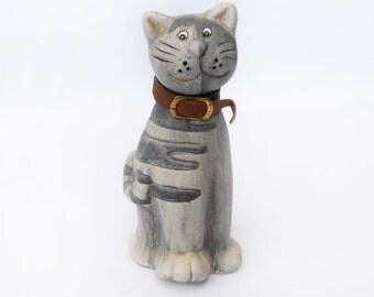 Vintage Cat Décor , clay  cat figurine, cat collection, cat Collectible, cat Décor, cat Home  Decor