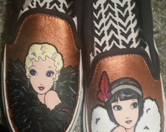 Handpainted shoes Flapper Girls
