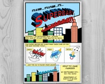 Superbaby Invitation, Superman Baby Shower Invitation, Comic Superhero invitation, Baby shower Comics themed party new baby, cartoons