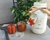 Distressed Mason Jar Fall Decoration