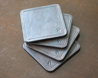 Handmade set of leather coasters - four coasters