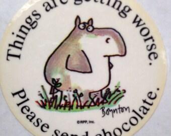 Things Are Getting Worse, Please Send Chocolate sticker by Sandra Boynton