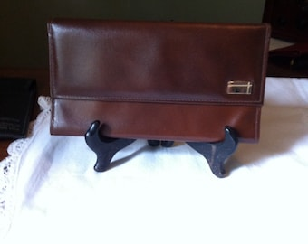 Vintage  Leather Wallet - Genuine Brown Leather  - Womens Clutch Style