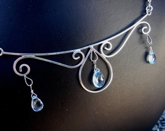 Blue Topaz and Sterling Silver Filigree Necklace