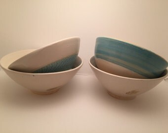 Handmade Custom Set of 6 Glazed Pottery Bowls - Food, Microwave & Dishwasher Safe
