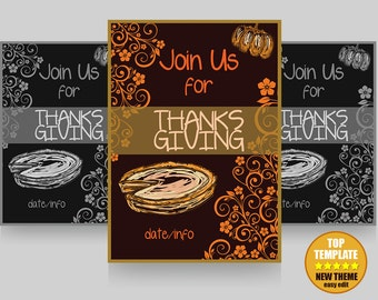 Thanksgiving Invitation Graphiki Easy Edit - Instant Download Template