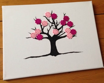 Button Cherry Blossom Spring Tree Canvas