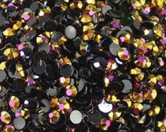 5mm Flatback Gold AB Jelly Rhinestones 1000 pieces Non-Hotfix, Loose, Nail Art, Decoden