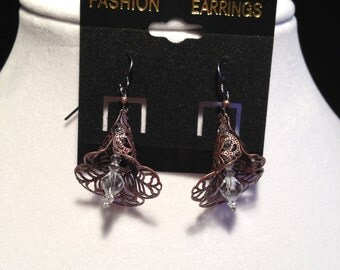 Clear Crystal Tulip Earrings