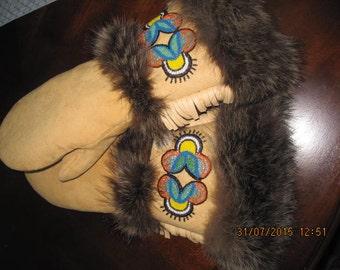 Custom Handmade leather mitts with wolf fur and beadwork