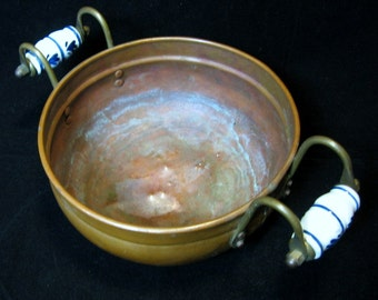 Vintage Copper and Brass Bowl Planter with ceramic Delft handles