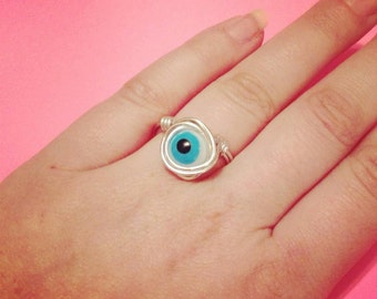 Wire wrapped eyeball ring