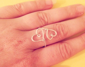 Double heart wire wrapped adjustable ring