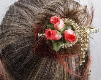 GOLDEN ROSESTRASS Hair Clasp