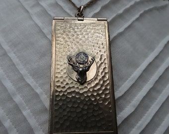 Vintage Art Deco 1920's Marathon GF Elk Card Locket Fob Pendant and 1910's Antique Chain - NEB116