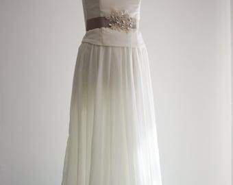 Pure Silk  Wedding Dress, Bridal dress with Ivory Lace Sash