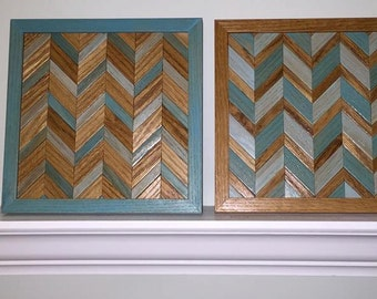 Chevron Wood Wall Art - Reclaimed Wood Wall Art - Chevron Pattern Wood Wall Art- Wall Decor