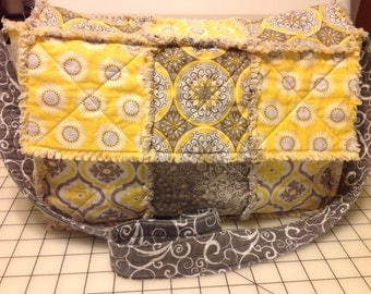 Gray & Yellow Messenger Rag Quilt Purse, Rag Purse, Rag Tote