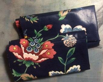 Navy Floral Fabric Scraps