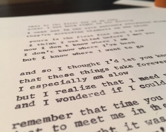 8x10 Custom Typewritten Letter from a mid-century typewriter - your choice of text - poetry - song - love letter - etc