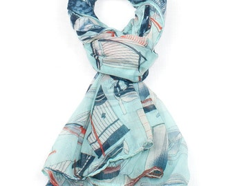 Blue Sailing Boat Print Scarf