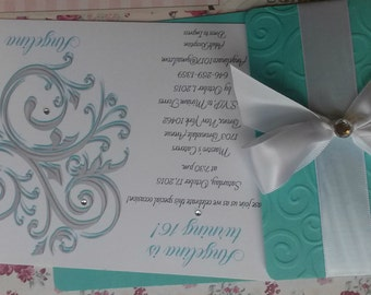 50 Quinceañera Sweet 16 Announcements swirl Tiffany Invitations