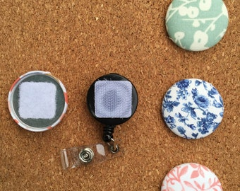 Floral Button Badge Reel Set - Interchangeable