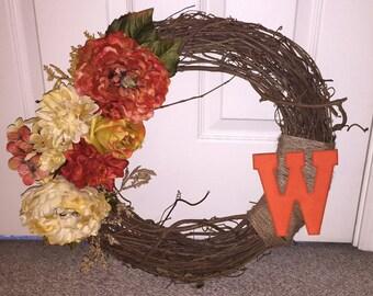homemade fall door wreath