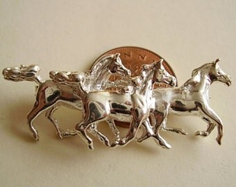 Sterling Silver Three Galloping Horses Brooch Pin