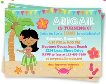 Dark Hula Girl Party Printable Invitation, Custom Hula Party Invitation, Printable Luau Birthday Party Invitation, Tropical Beach Party