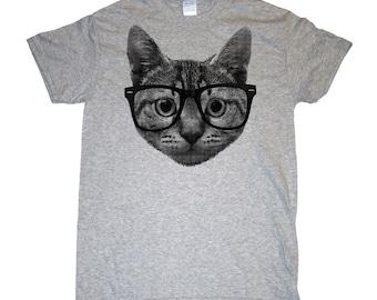 HIPSTER CAT funny cat glasses Men's/Women's T-Shirt