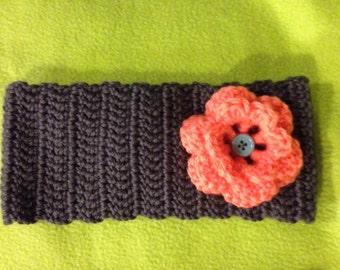 Crochet Ear Warmer Headband with Flower
