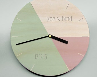 Modern wood clock - pastel pink, green and grey personalized for a couple's celebration or sophisticated
