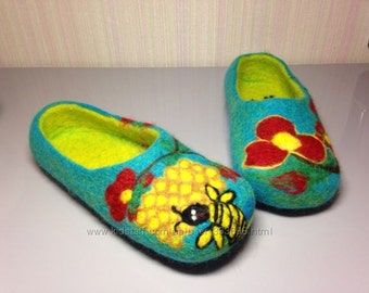 felted wool slippers. natural wool