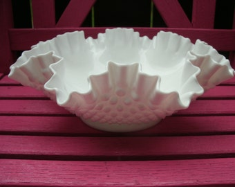"Ruffled Hobnail Milk Glass Bowl 12"" Wide at Top"
