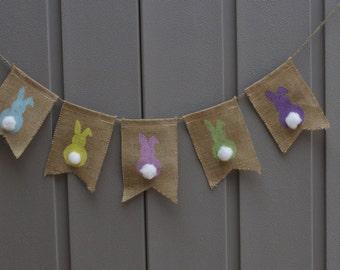 Easter Banner, Bunny Banner, Burlap Banner, Easter Bunny Garland, Burlap Bunting Garland, Easter Decor, Rustic Easter, Photo Prop