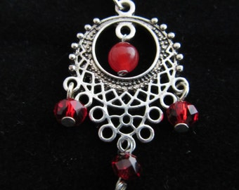 Ruby and Red Czech Glass Pendant Necklace on 18 Inch Silver Plated Chain