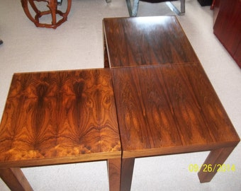 Set of Three Danish Modern Rosewood square grouping tables, coffee table, side tables