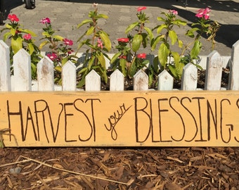 Harvest Your Blessings wood sign - Thanksgiving - Harvest - Reclaimed wood Rustic Holiday Decor - Fall Decor - Thanksgiving Decor - Handmade