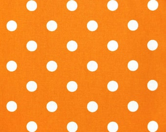 Premier Prints Polka Dot in Orange White 7 oz Cotton Home Decor fabric, 1 yard
