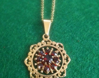Antique 9CT Gold Red Garnet necklace by Lotus