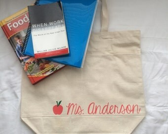 Personalized Teacher Tote Bag.Tote Bag for School.Custom Tote Bag.Large Canvas Tote Bag with Pockets.Teacher Tote Bag.Gifts for Teachers.