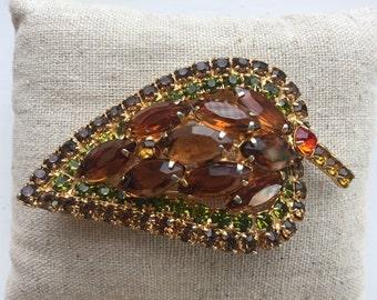 Delizza & Elster Juliana Fall Colors Leaf Rhinestone Brooch
