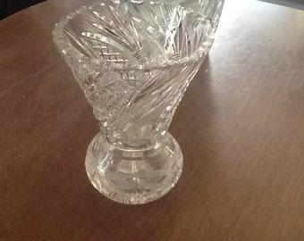 Small heavy crystal vase