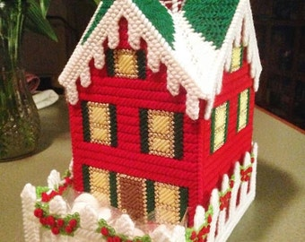 Christmas Cottage Tissue Box Cover