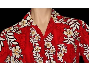 Vintage MALIHINI Red Floral Print Hawaiian Aloha PArty Shirt in a size Large L